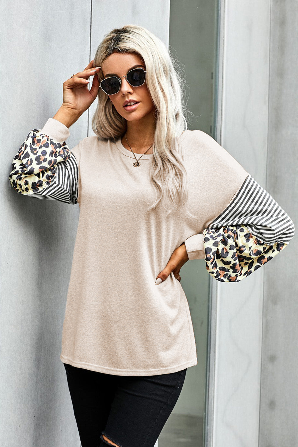 Khaki Leopard Striped Print Sleeve Colorblock Top Long Sleeve Tops Discount Designer Fashion Clothes Shoes Bags Women Men Kids Children Black Owned Business
