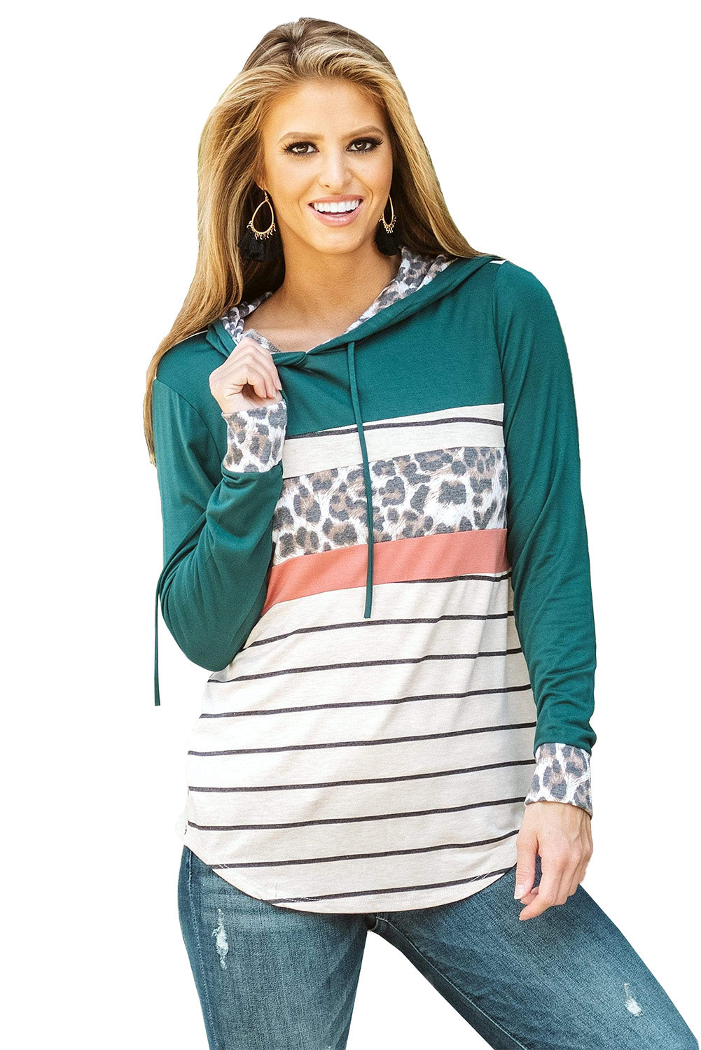 Green Color Block Striped Leopard Print Hoodie Sweatshirts & Hoodies Discount Designer Fashion Clothes Shoes Bags Women Men Kids Children Black Owned Business
