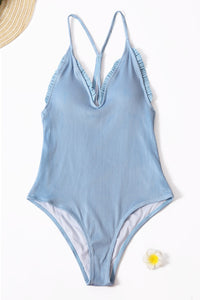 Sky Blue Ruffled One-piece Swimsuit One-Piece Swimwear Discount Designer Fashion Clothes Shoes Bags Women Men Kids Children Black Owned Business