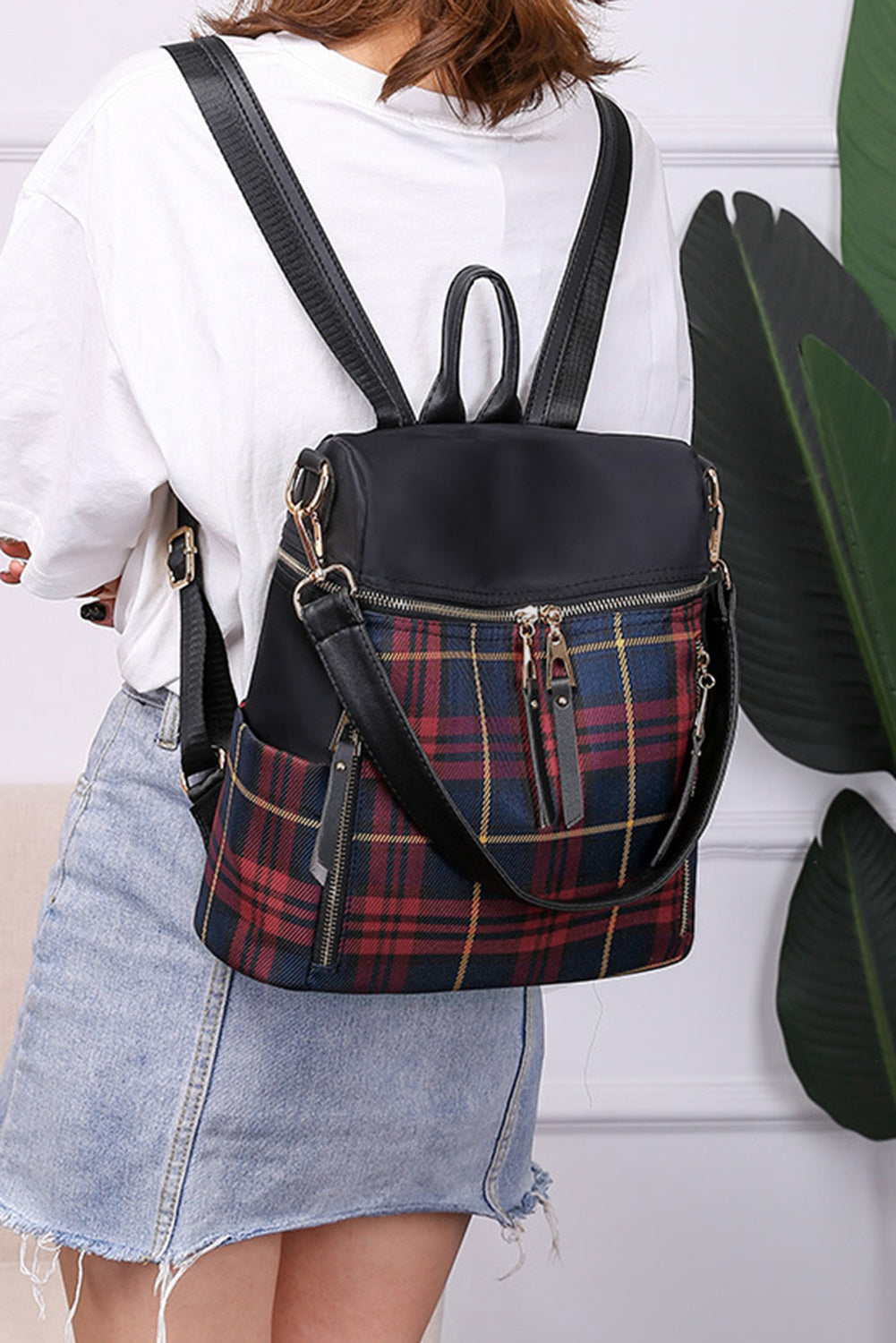 Red Plaid Backpack Handbag Bags Discount Designer Fashion Clothes Shoes Bags Women Men Kids Children Black Owned Business