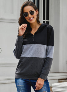 Black Color Block Zipped Neck Hoodie Sweatshirts & Hoodies Discount Designer Fashion Clothes Shoes Bags Women Men Kids Children Black Owned Business