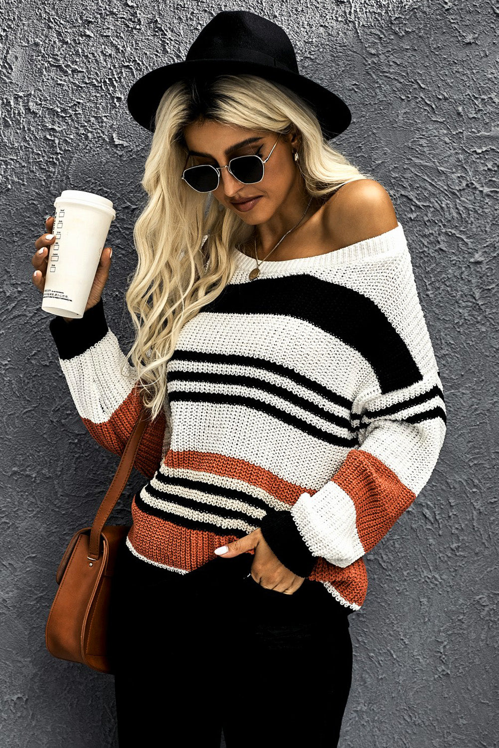 Black Striped Pattern Knit Sweater Sweaters & Cardigans Discount Designer Fashion Clothes Shoes Bags Women Men Kids Children Black Owned Business