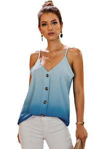 Blue Ombre Button Down V Neck Strappy Tank Top Tank Tops Discount Designer Fashion Clothes Shoes Bags Women Men Kids Children Black Owned Business