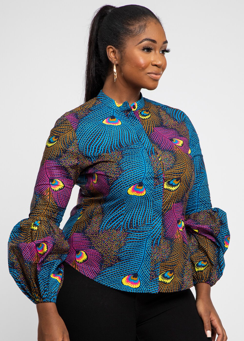 African Peacock Button-Down Blouse  Discount Designer Fashion Clothes Shoes Bags Women Men Kids Children Black Owned Business
