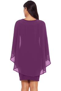 Purple Slinky Sexy Gauze Cape Mini Dress - JT's Designer Fashion