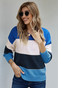 Blue Pullover Colorblock Winter Sweater Sweaters & Cardigans Discount Designer Fashion Clothes Shoes Bags Women Men Kids Children Black Owned Business