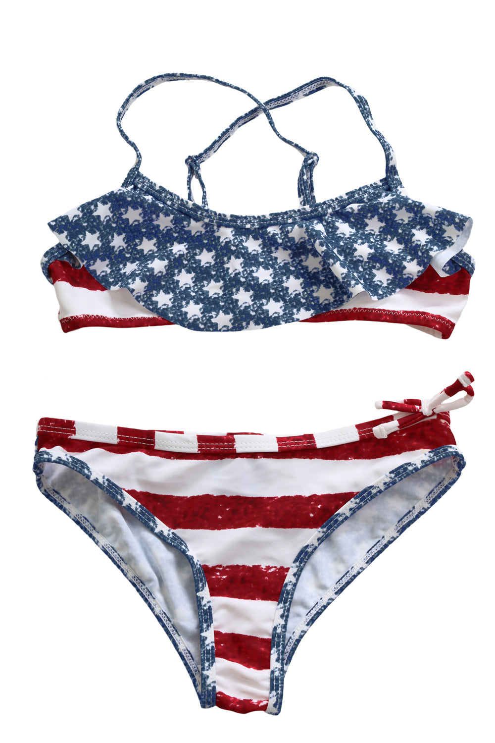 Stars & Stripes Flounce Bikini Swimsuit for Kids Girls Swimsuits Discount Designer Fashion Clothes Shoes Bags Women Men Kids Children Black Owned Business