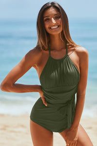 Green High Neck Ruched Monokini Swimwear with Self Tie Strap One-Piece Swimwear Discount Designer Fashion Clothes Shoes Bags Women Men Kids Children Black Owned Business