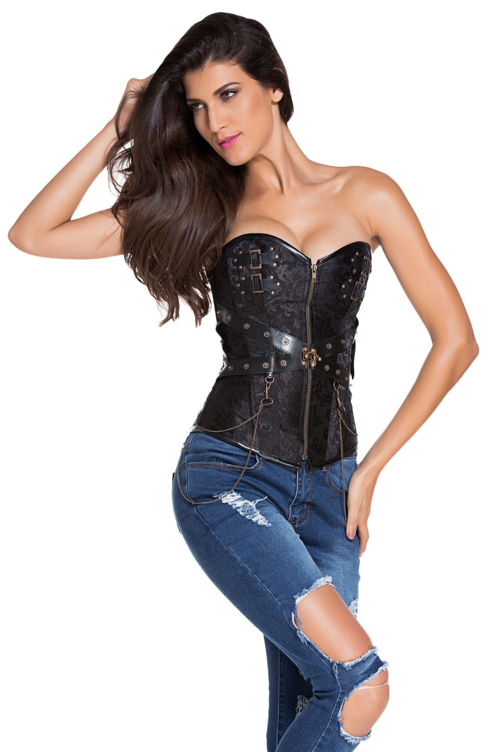 Black Zip Front Steampunk Corset with Thong Corsets Discount Designer Fashion Clothes Shoes Bags Women Men Kids Children Black Owned Business