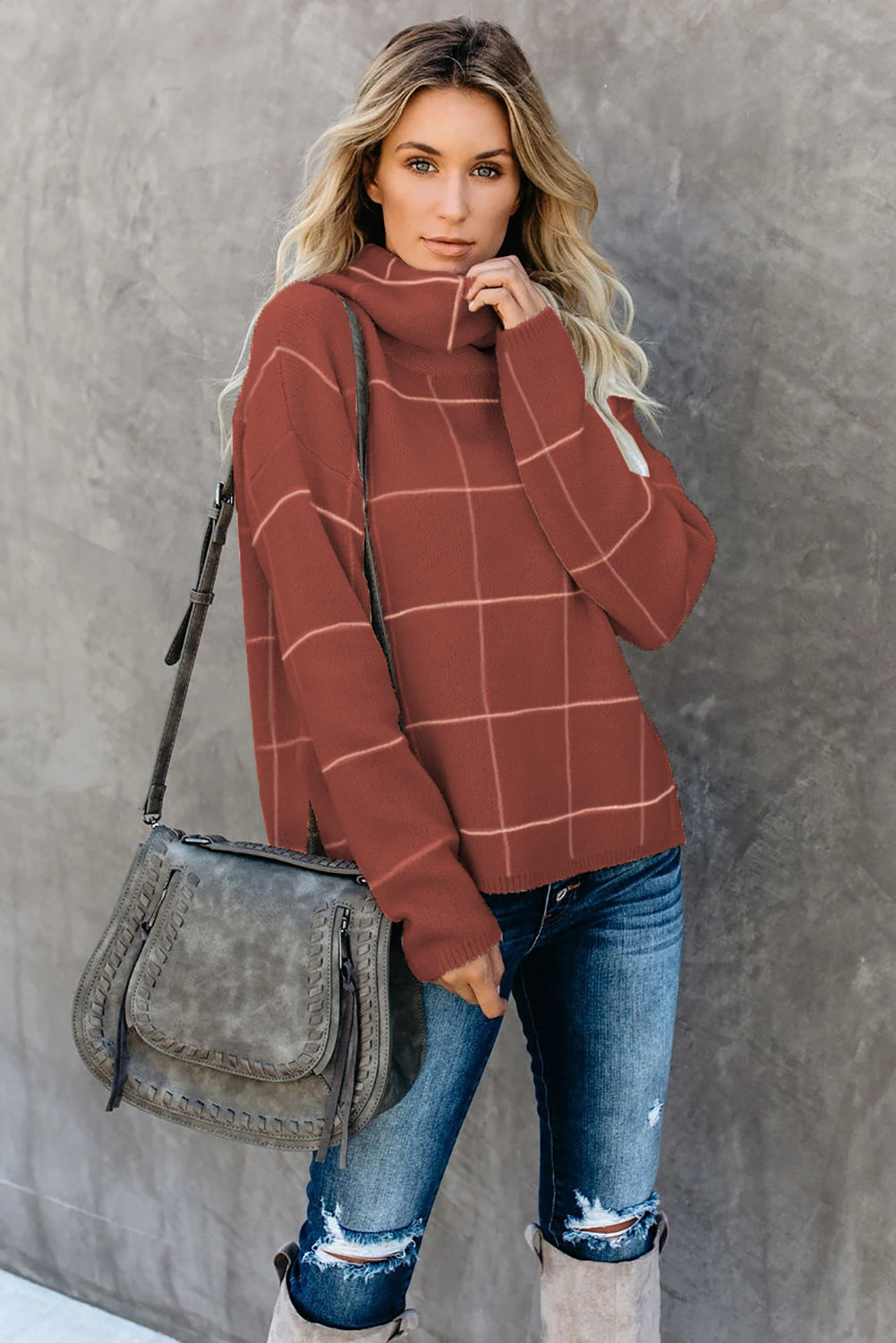 Brown Grid Pattern Turtleneck Sweater Sweaters & Cardigans Discount Designer Fashion Clothes Shoes Bags Women Men Kids Children Black Owned Business