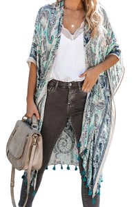 Beige Boho Paisley Print Kimono Beach Cover up with Tassel Beach Cover-ups Discount Designer Fashion Clothes Shoes Bags Women Men Kids Children Black Owned Business