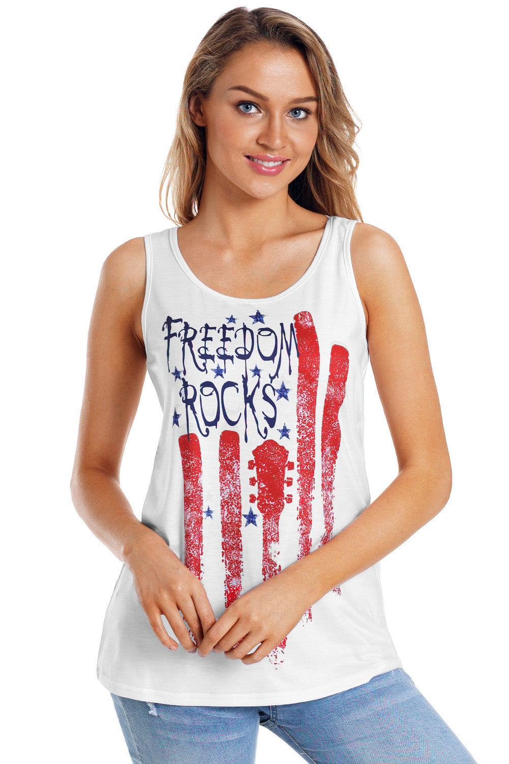 Freedom Rocks Flag Print White Active Tank Top