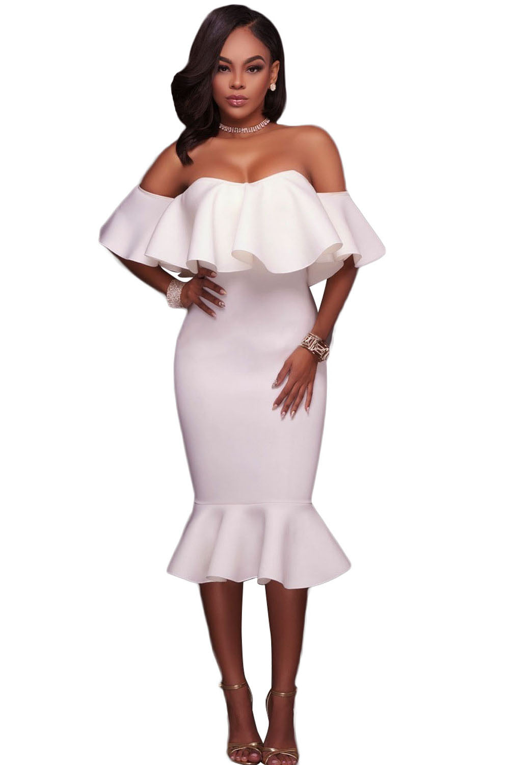 White Ruffle Off Shoulder Mermaid Midi Party Dress