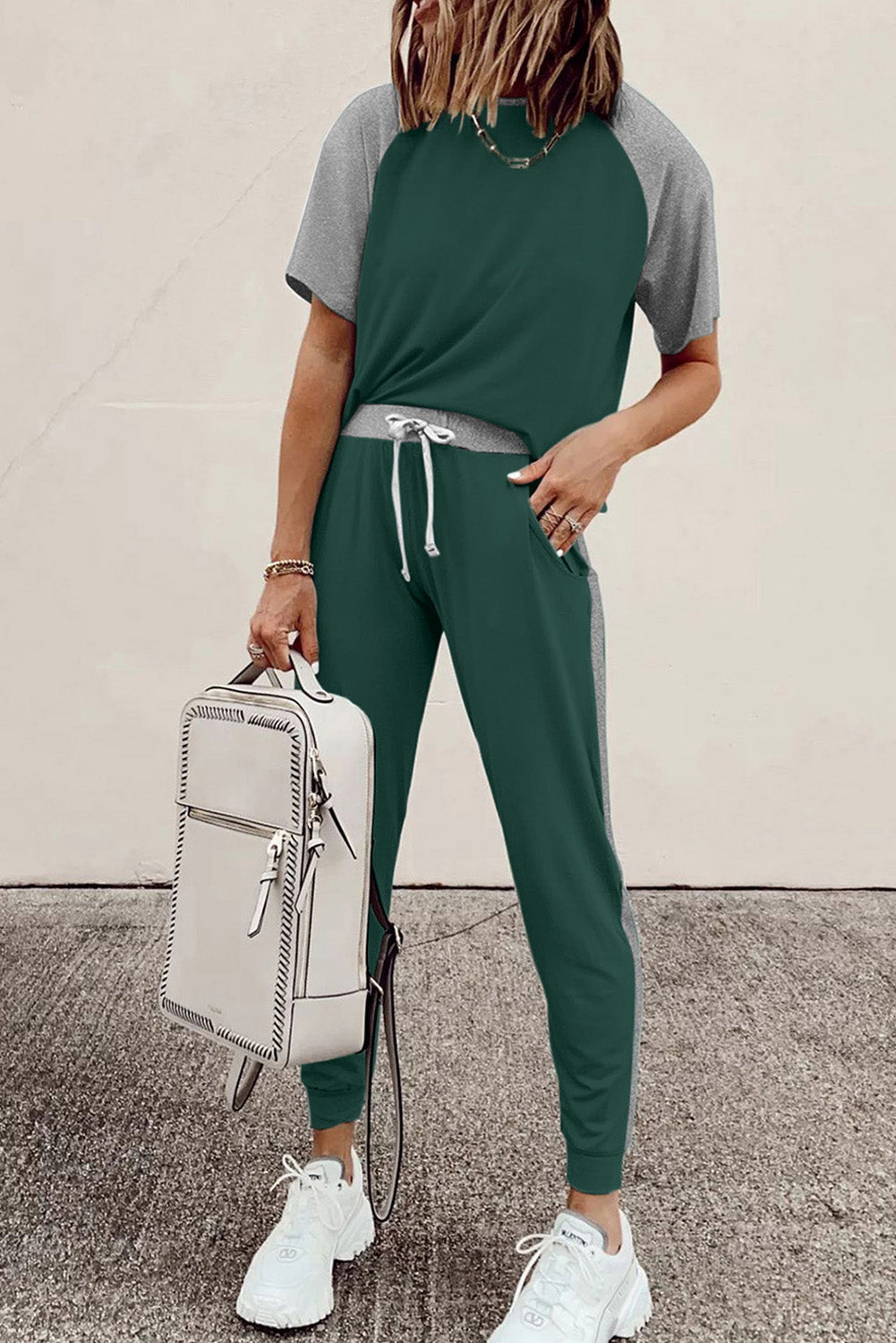 Green Colorblock Short Sleeves and Joggers Sports Set Sports Wear Discount Designer Fashion Clothes Shoes Bags Women Men Kids Children Black Owned Business