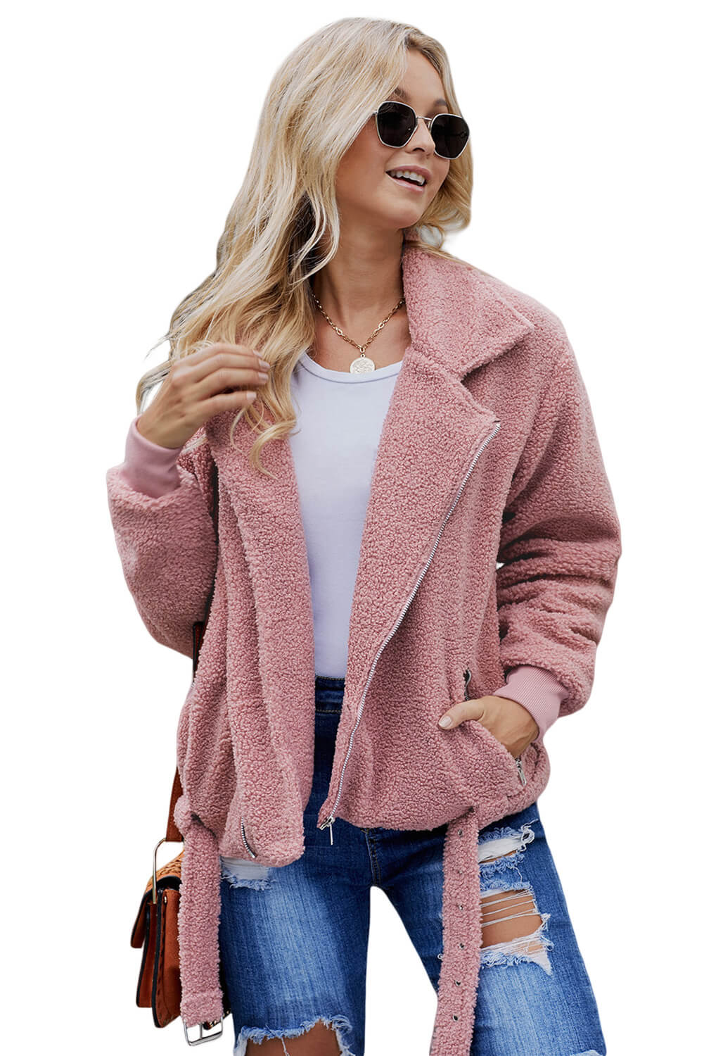 Pink Niagara Falls Pocketed Sherpa Jacket Suits & Coats Discount Designer Fashion Clothes Shoes Bags Women Men Kids Children Black Owned Business