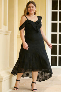 Black Asymmetric Ruffle Shoulder Design Plus Size Lace Dress Plus Size Dresses Discount Designer Fashion Clothes Shoes Bags Women Men Kids Children Black Owned Business