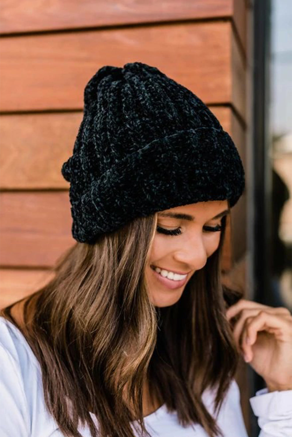 Black Chenille Beanie Hats & Caps Discount Designer Fashion Clothes Shoes Bags Women Men Kids Children Black Owned Business