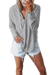 Gray Drawstring V Neck Hoodie Loungewear Lounge Sets Discount Designer Fashion Clothes Shoes Bags Women Men Kids Children Black Owned Business