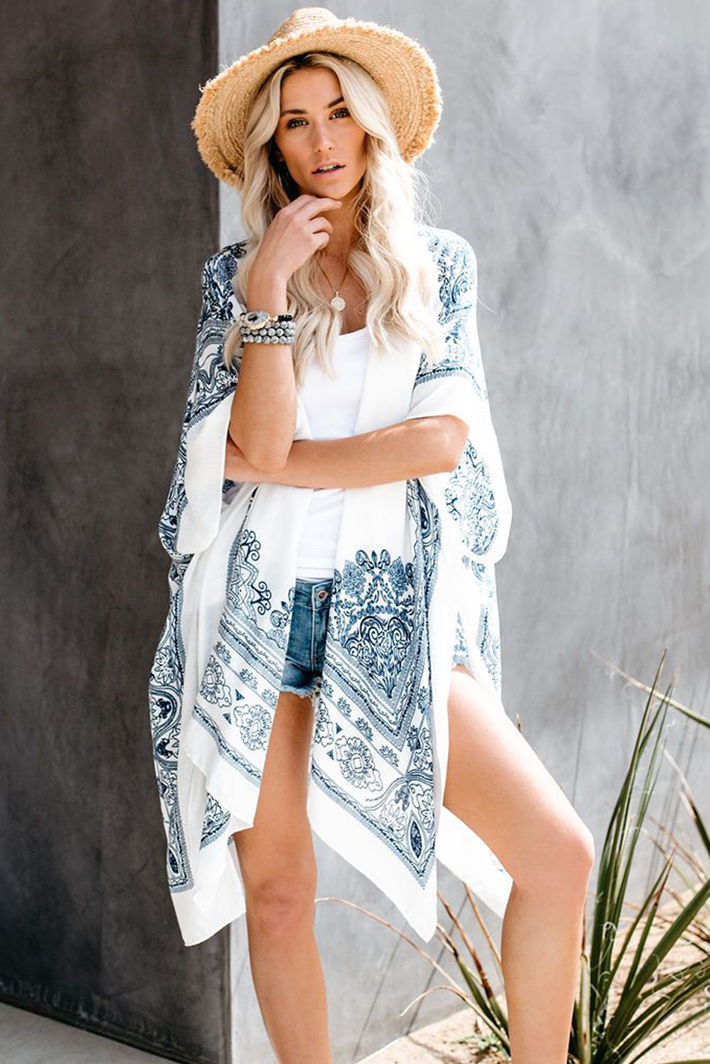 White Mandala Kimono Beach Dresses Discount Designer Fashion Clothes Shoes Bags Women Men Kids Children Black Owned Business