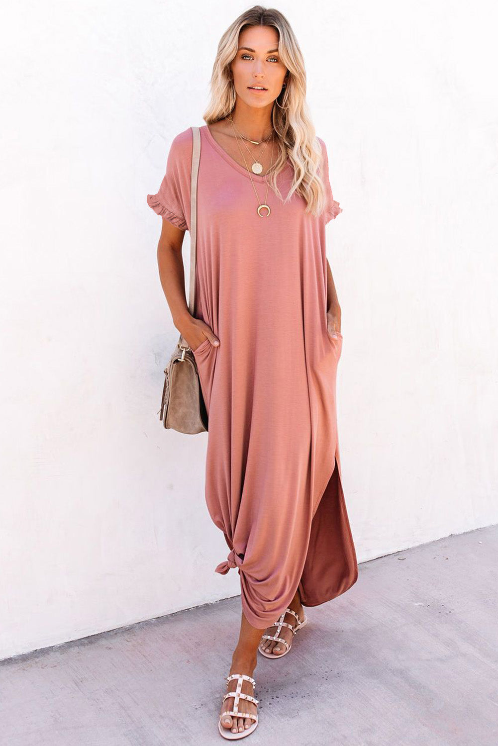 Pink Loose Fit Cotton Blend V Neck Maxi Dress with Slits Maxi Dresses Discount Designer Fashion Clothes Shoes Bags Women Men Kids Children Black Owned Business