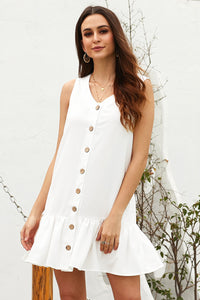 White Pocketed Button Down Tank Dress Mini Dresses Discount Designer Fashion Clothes Shoes Bags Women Men Kids Children Black Owned Business