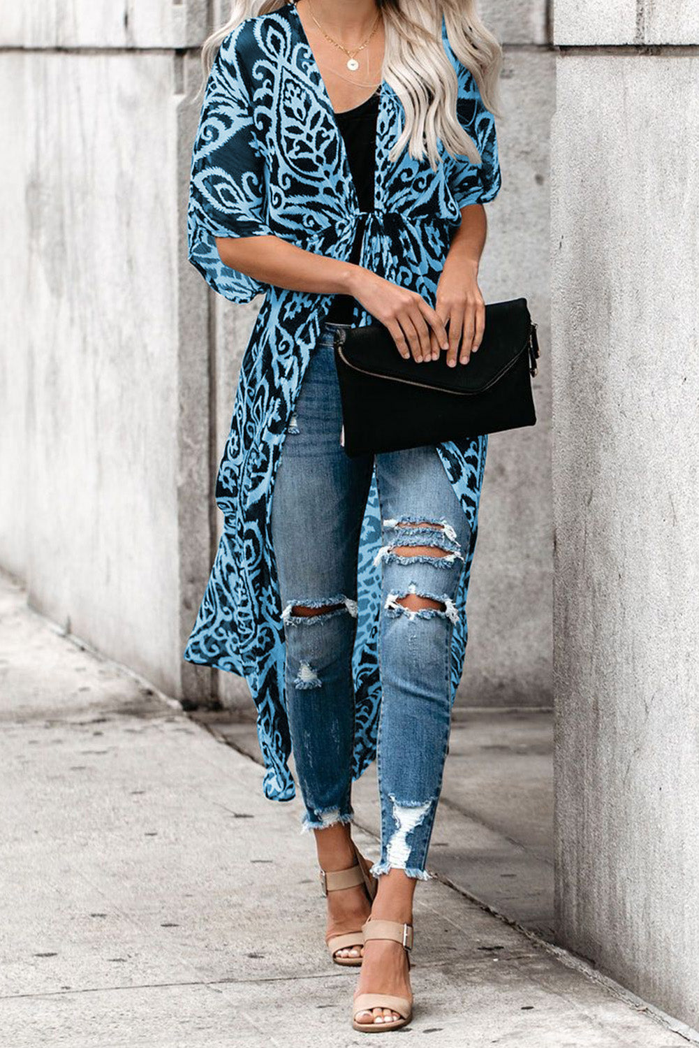 Blue Printed Duster Kimono Beach Dresses Discount Designer Fashion Clothes Shoes Bags Women Men Kids Children Black Owned Business