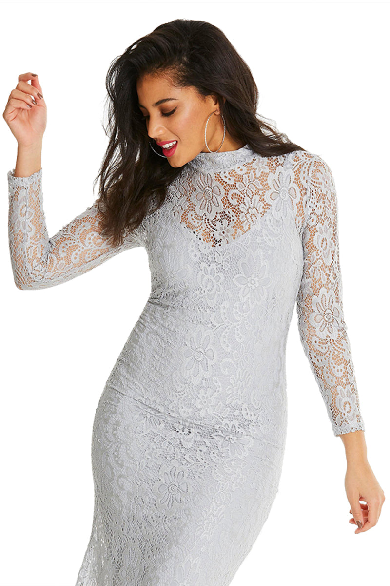 White Plus Size High Neck Lace Fishtail Maxi Dress Plus Size Dresses Discount Designer Fashion Clothes Shoes Bags Women Men Kids Children Black Owned Business