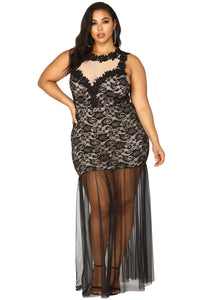 Black Plus Size Lace Maxi Dress with Tulle Plus Size Dresses Discount Designer Fashion Clothes Shoes Bags Women Men Kids Children Black Owned Business