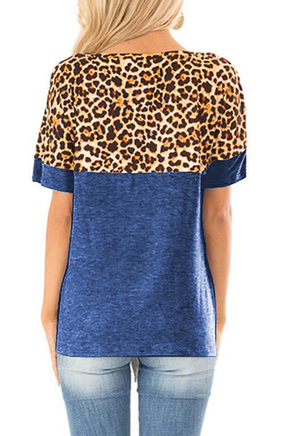 Blue Leopard Patchwork Knot Shirt Tops & Tees Discount Designer Fashion Clothes Shoes Bags Women Men Kids Children Black Owned Business