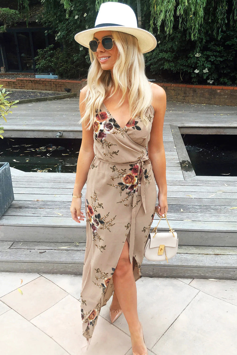 Apricot Floral Wrap Maxi Dress With Slit - JT's Designer Fashion