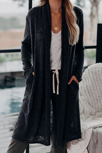 Black Slouchy Pocketed Knit Longline Cardigan Sweaters & Cardigans Discount Designer Fashion Clothes Shoes Bags Women Men Kids Children Black Owned Business