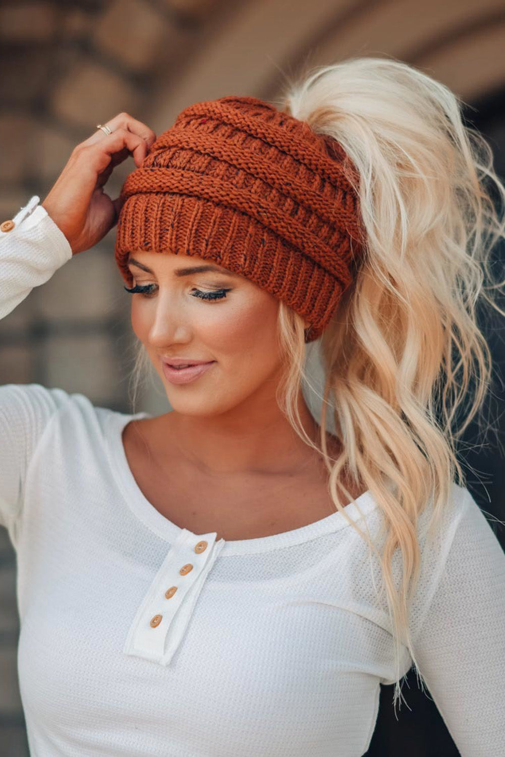 Brown Winter Knitted Ponytail Beanie Hats & Caps Discount Designer Fashion Clothes Shoes Bags Women Men Kids Children Black Owned Business