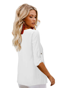 White Button Detail Roll up Sleeve Blouse Blouses & Shirts Discount Designer Fashion Clothes Shoes Bags Women Men Kids Children Black Owned Business