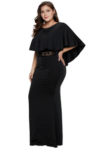 Black Cape Overlay Plus Size Dress Plus Size Dresses Discount Designer Fashion Clothes Shoes Bags Women Men Kids Children Black Owned Business
