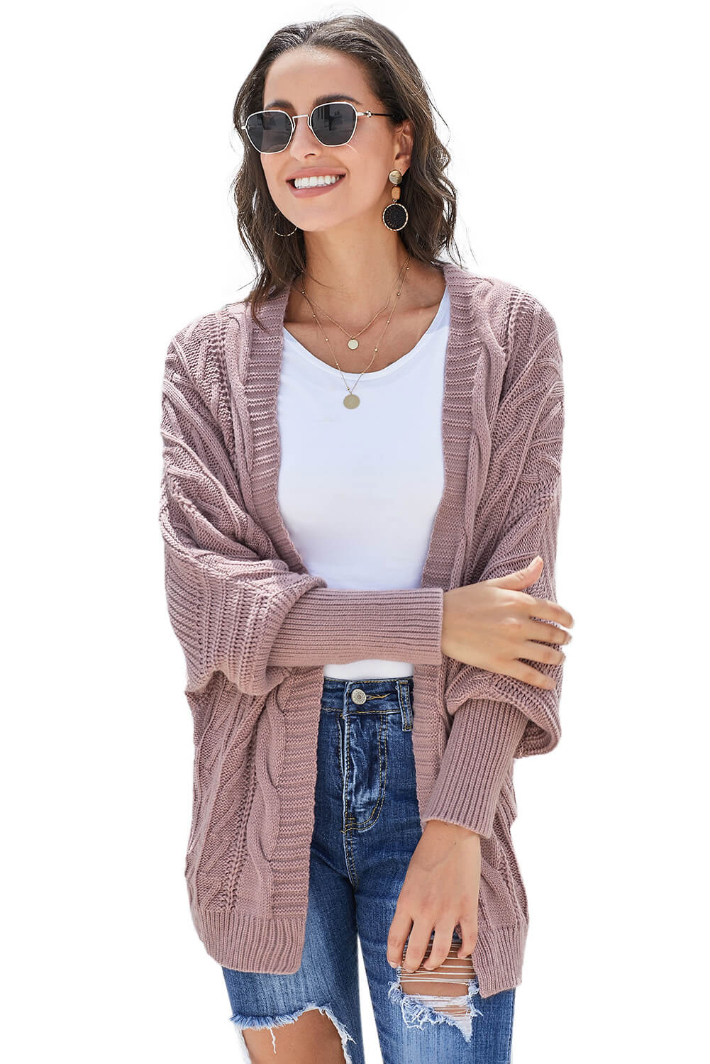 Pink Dolman Sleeve Open Front Knit Cardigan Sweaters & Cardigans Discount Designer Fashion Clothes Shoes Bags Women Men Kids Children Black Owned Business