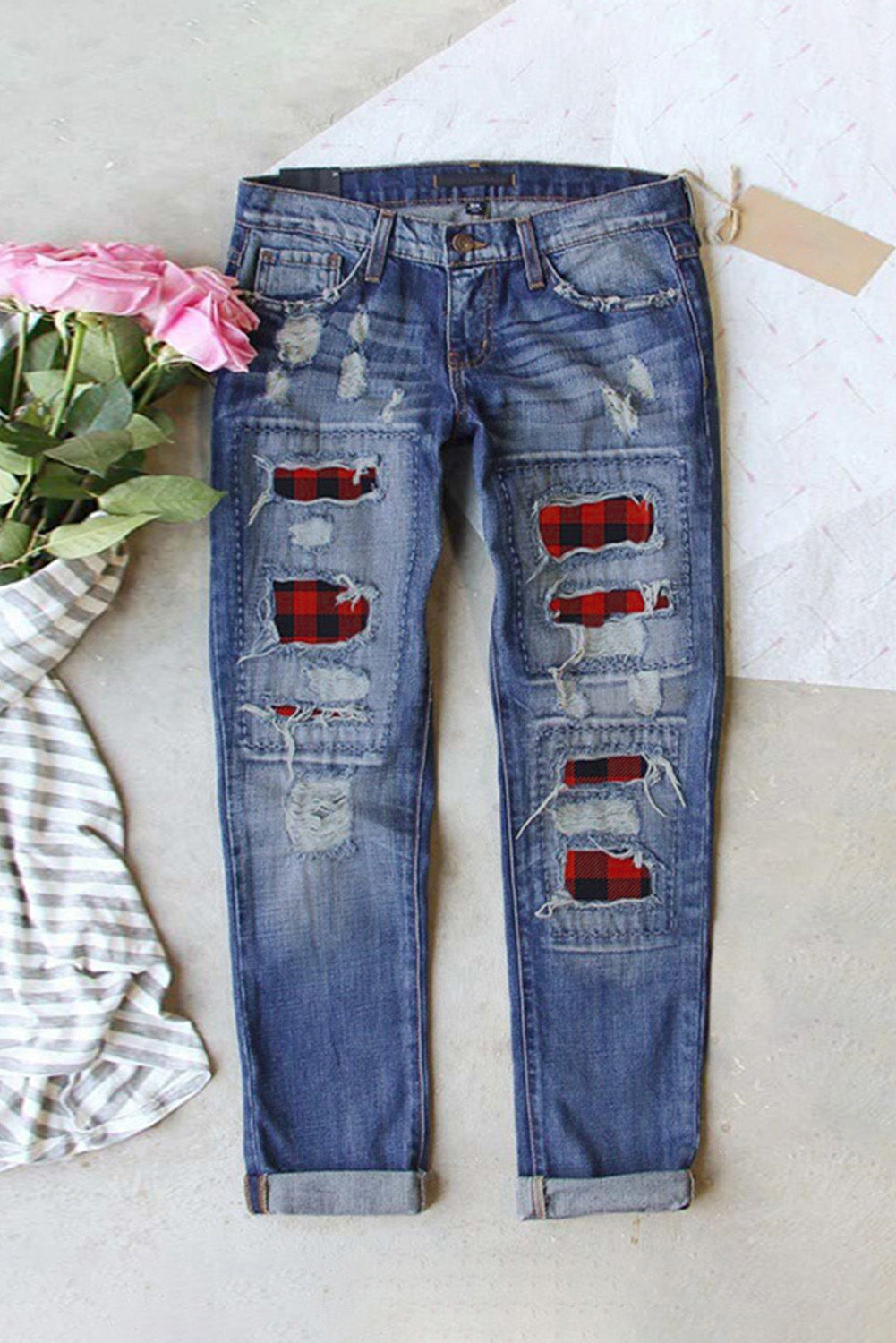 Buffalo Plaid Patches Distressed Straight Jeans Jeans Discount Designer Fashion Clothes Shoes Bags Women Men Kids Children Black Owned Business