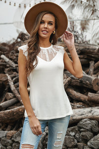 White Lace Cape Flowy Tank Top - JT's Designer Fashion