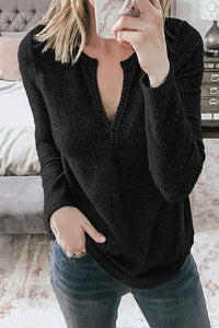 Black V Neck Cotton Blend Long Sleeve Top Long Sleeve Tops Discount Designer Fashion Clothes Shoes Bags Women Men Kids Children Black Owned Business