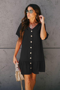 Black Pocketed Button Down Ruffle Dress Mini Dresses Discount Designer Fashion Clothes Shoes Bags Women Men Kids Children Black Owned Business