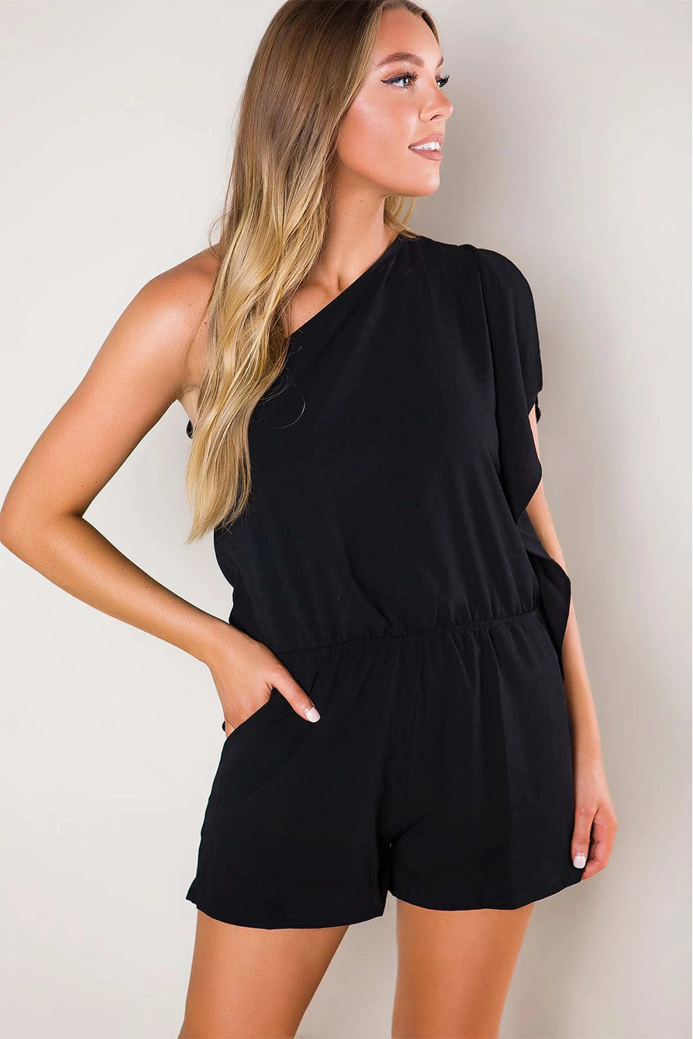 Black One-shoulder Romper with Pockets - JT's Designer Fashion