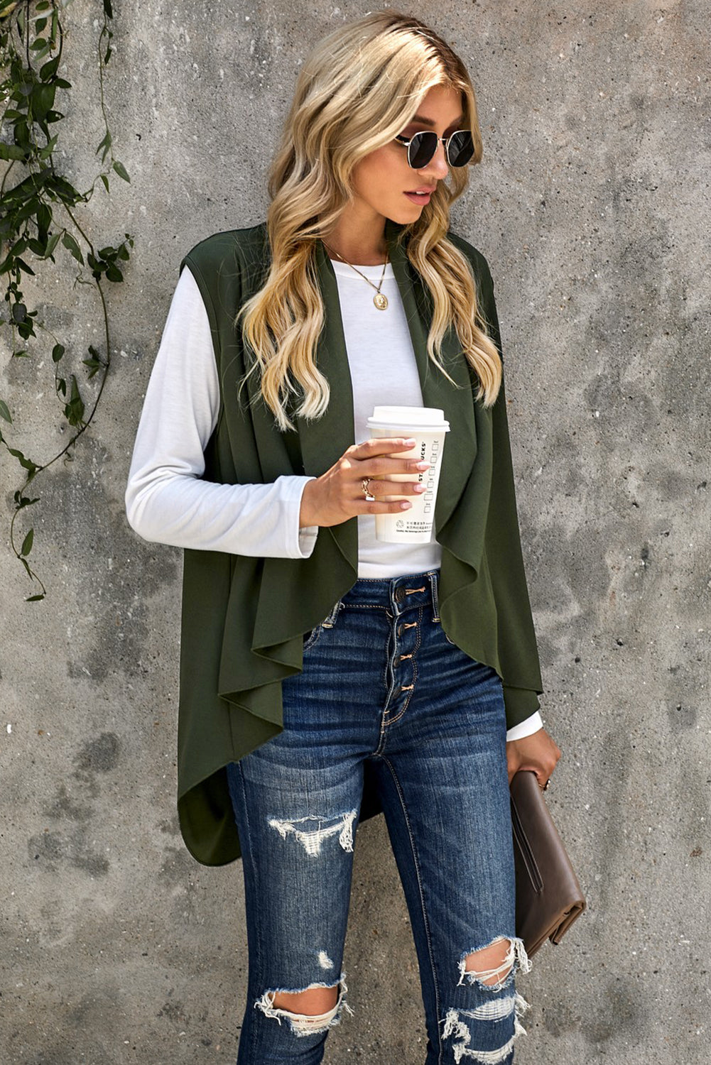 Green Sleeveless Cascade Open Front Draped Cardigan Sweaters & Cardigans Discount Designer Fashion Clothes Shoes Bags Women Men Kids Children Black Owned Business