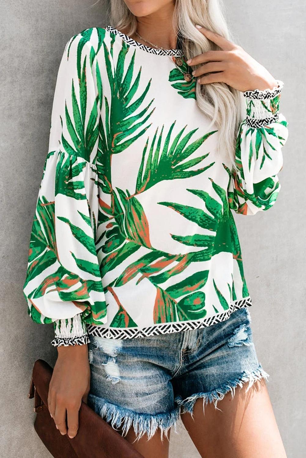 White Floral Printed Blouse Blouses & Shirts Discount Designer Fashion Clothes Shoes Bags Women Men Kids Children Black Owned Business