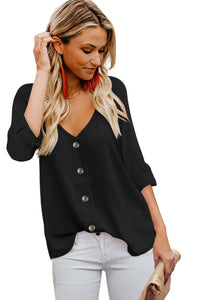 Black Button Detail Roll up Sleeve Blouse Blouses & Shirts Discount Designer Fashion Clothes Shoes Bags Women Men Kids Children Black Owned Business