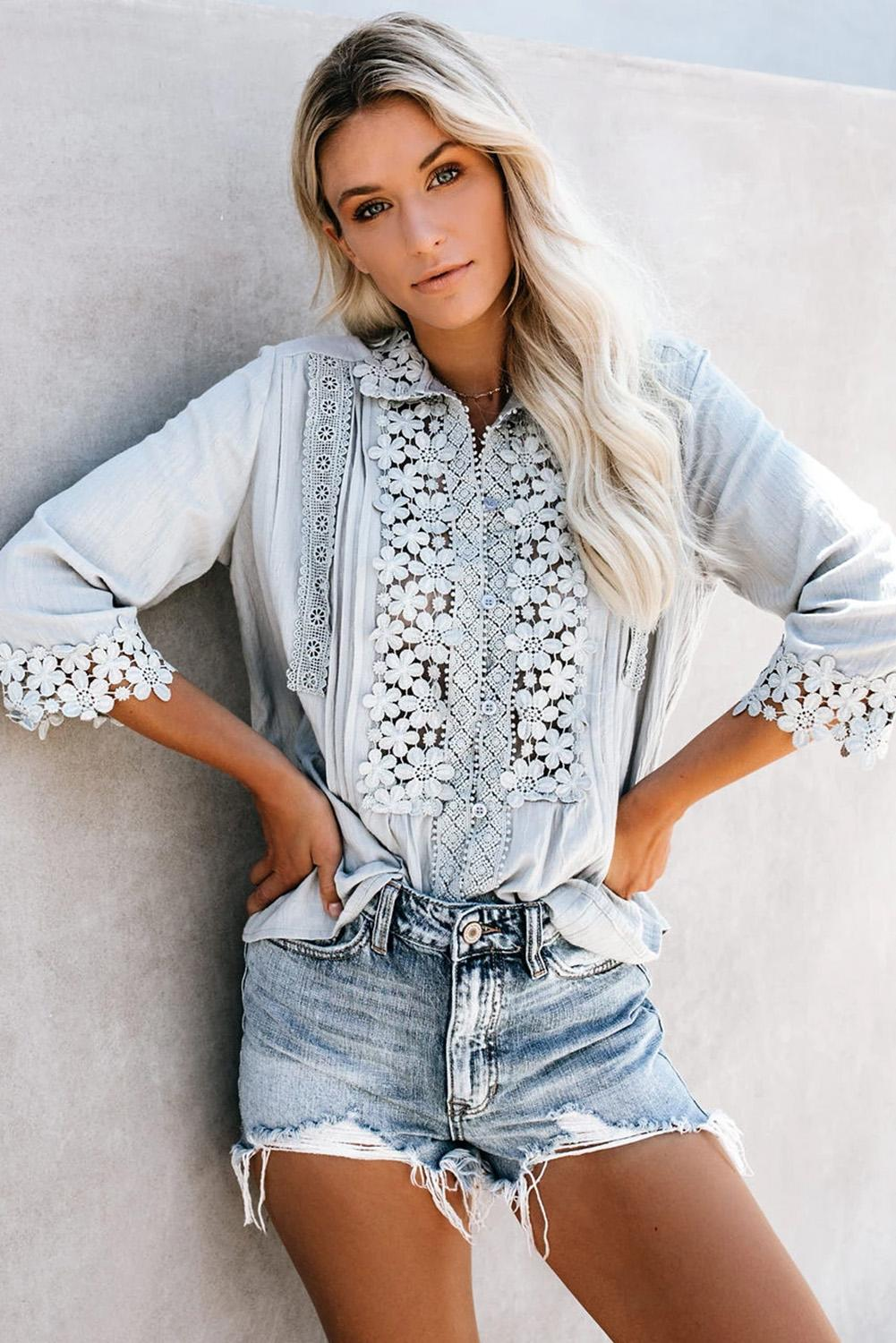 Gray Sweet Mary Crochet Lace Top Blouses & Shirts Discount Designer Fashion Clothes Shoes Bags Women Men Kids Children Black Owned Business