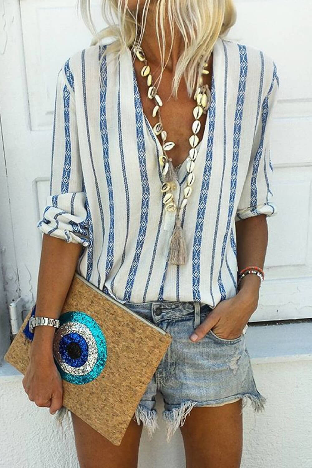 Sky Blue V Neck Striped Button Down Blouse Blouses & Shirts Discount Designer Fashion Clothes Shoes Bags Women Men Kids Children Black Owned Business
