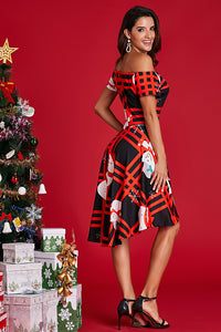 Plaid Christmas Ornament Off Shoulder Dress Skater Dresses Discount Designer Fashion Clothes Shoes Bags Women Men Kids Children Black Owned Business