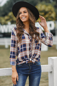 Chic Plaid Print Shirt with Pocket - JT's Designer Fashion