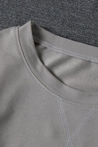 Gray Patchwork Dropped Shoulder Sleeve Sweatshirt Sweatshirts & Hoodies Discount Designer Fashion Clothes Shoes Bags Women Men Kids Children Black Owned Business