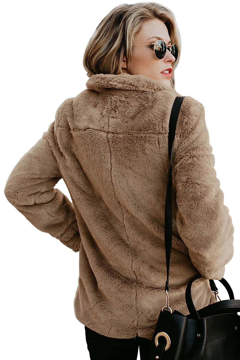 Brown Pocket Style Fluffy Winter Coat Suits & Coats Discount Designer Fashion Clothes Shoes Bags Women Men Kids Children Black Owned Business