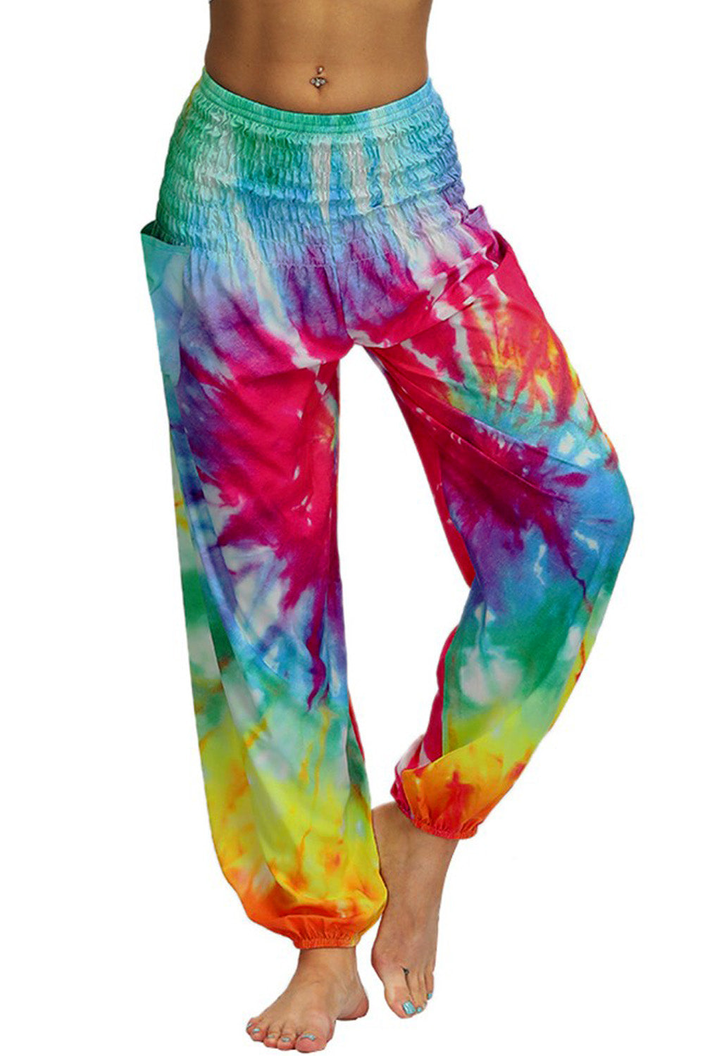 Multicolor Boho Tie-dye Casual Loose Hippy Harem Pants Pants & Culotte Discount Designer Fashion Clothes Shoes Bags Women Men Kids Children Black Owned Business